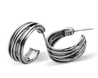 SHABLOOL Earrings ,didae,stud  Half hoop,Earrings Classic Half hoop,women Earrings ,gift,shablool,Earrings sterling Silver 925, from israel