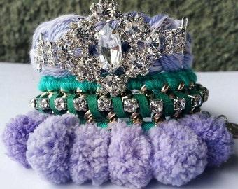 Pom pom bracelets, pom pom jewelry, arm candy set, friendship bracelets, stack bracelet, purple bracelet, green bracelet, boho glam, pompom