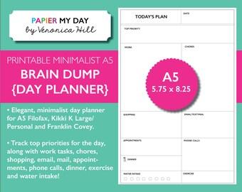 A5 Filofax Day Planner - Filofax Brain Dump - Minimalist Design - Fits Kikki K Large/Personal