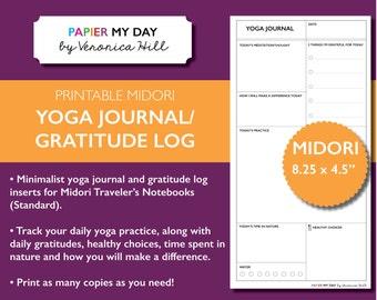 Midori Traveler's Notebook Yoga Journal - MTN Yoga Journal - Printable Yoga Journal and Daily Gratitudes