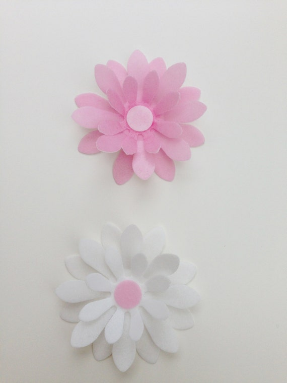 8 Edible Large Pink And White 3d Wafer Flowers Cupcake