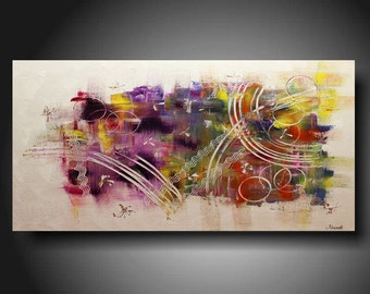 SPECIALE..SALE..Abstract Painting Contemporary Oil painting yellow purple red Landscape painting Acrylic painting Surreal Heavy Texture