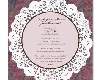 Bridal Shower 6.25 Square Invitation - High Tea - Lace Doily - Printable and Personalized