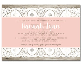 Baptism 5x7 Invitation - Country Christening - Wood and Lace - Printable and Personalized