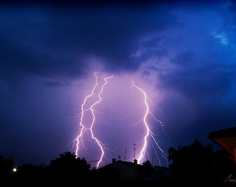 Photography - Lightning Strikes Thrice - Fine Art Print on Vivid Metal, Float Mount or Mounted Photo, Home Decor