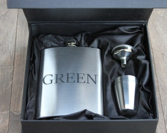 Set of 2 - Engraved stainless steel flask set - groomsmen gift-- valentines gift