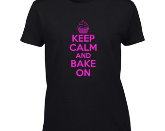 Keep Calm And Bake On T-Shirt - Mens Ladies Womens Kids Youth Tee