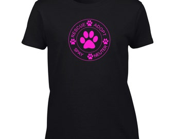 Rescue Adopt Spay Neuter T-Shirt Rescue Dog Mens Ladies Womens Kids Big And & Tall