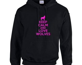 Keep Calm And Love Wolves Mens Hoodie  Funny Animal Shirt