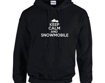 Keep Calm And Snowmobile Mens Hoodie  Funny Humor