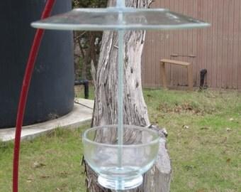 Handmade Clear Glass Bird Feeder