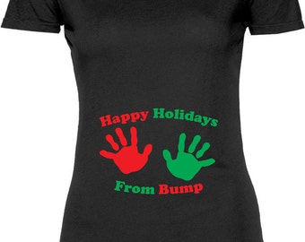 Funny Happy Holidays From Bump Tshirt Gift T-shirt Tee Shirt Womens Mother Christmas Pregnant Maternity Family Bump Mother T-shirt Tee Shirt