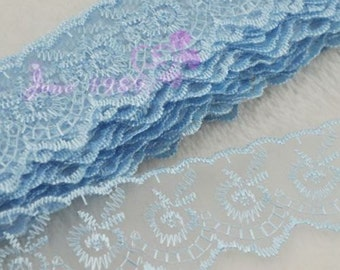 10Y 1 1/2'' Blue embroidered Lace trimming Appliques wedding craft cloth