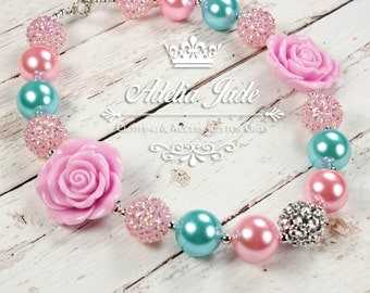 Baby Chunky Bubblegum Necklace, Pink Aqua Girls Chunky Necklace, Girls Bubblegum Necklace, Bubble Gum Children Necklace Baby Jewelry