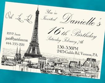 Paris Invitation Printable Birthday Personalized Invite DIY Printable Vintage Paris Invitation Eiffel Tower