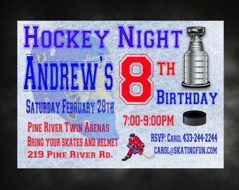 Hockey Birthday Invitation Personalized Invite DIY Printable Hockey Invitation Hockey Party