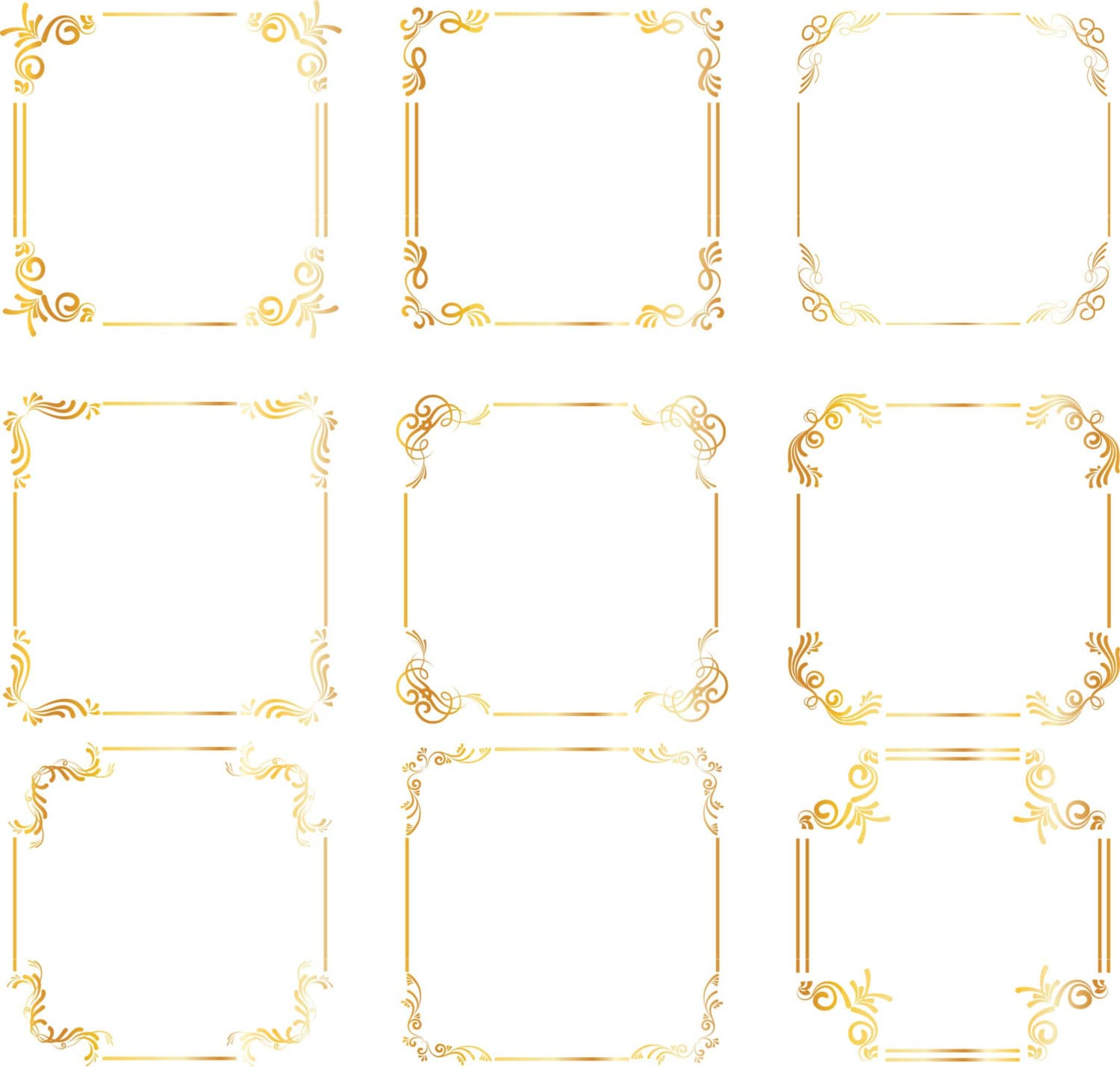 gold square frames borders gold wedding clipart digital clip