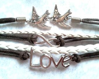 CLEARANCE - Love birds infinity charm bracelet
