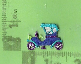 Blue and Green antique car iron on patch.