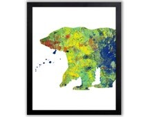 Abstract Watercolor Bear Art Print - Woodland Animal Decor - Primary Color Room Decor