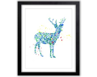 Stag Watercolor Painting - Deer Art - Buck - Woodland - Nursery Art - Home decor - Gift - Animal Watercolor - Primary Color - WA047