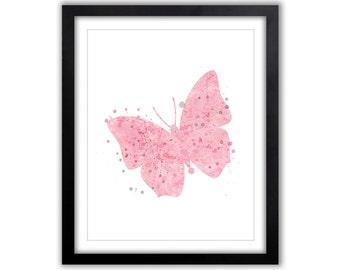 Baby Girl Nursery, Pink and Gray Nursery Art, Butterflies Decor, Girls Room, Wall Art, Butterfly Artwork, Watercolor Butterfly, BU012