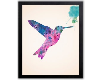 Watercolor Hummingbird Art - Bird Wall Decor - Abstract Hummingbird - Watercolor Painting - Bird Print