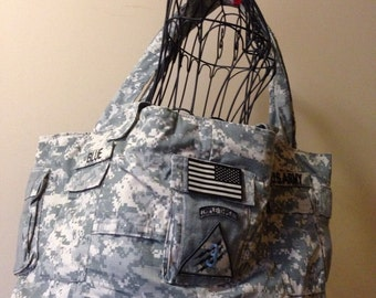 Army ACU Camouflage Over Night Bag Purse