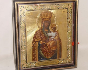 19th Century Mother Of God Russian Icon Enamel Gilt With Case