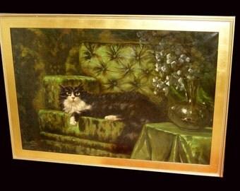 Long Haired Angora Cat On Green Sofa oil Painting Carl Kahler Austrian