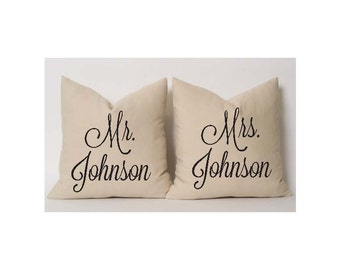 Mr & Mrs Pillows, Custom With Name, Wedding, Anniversary