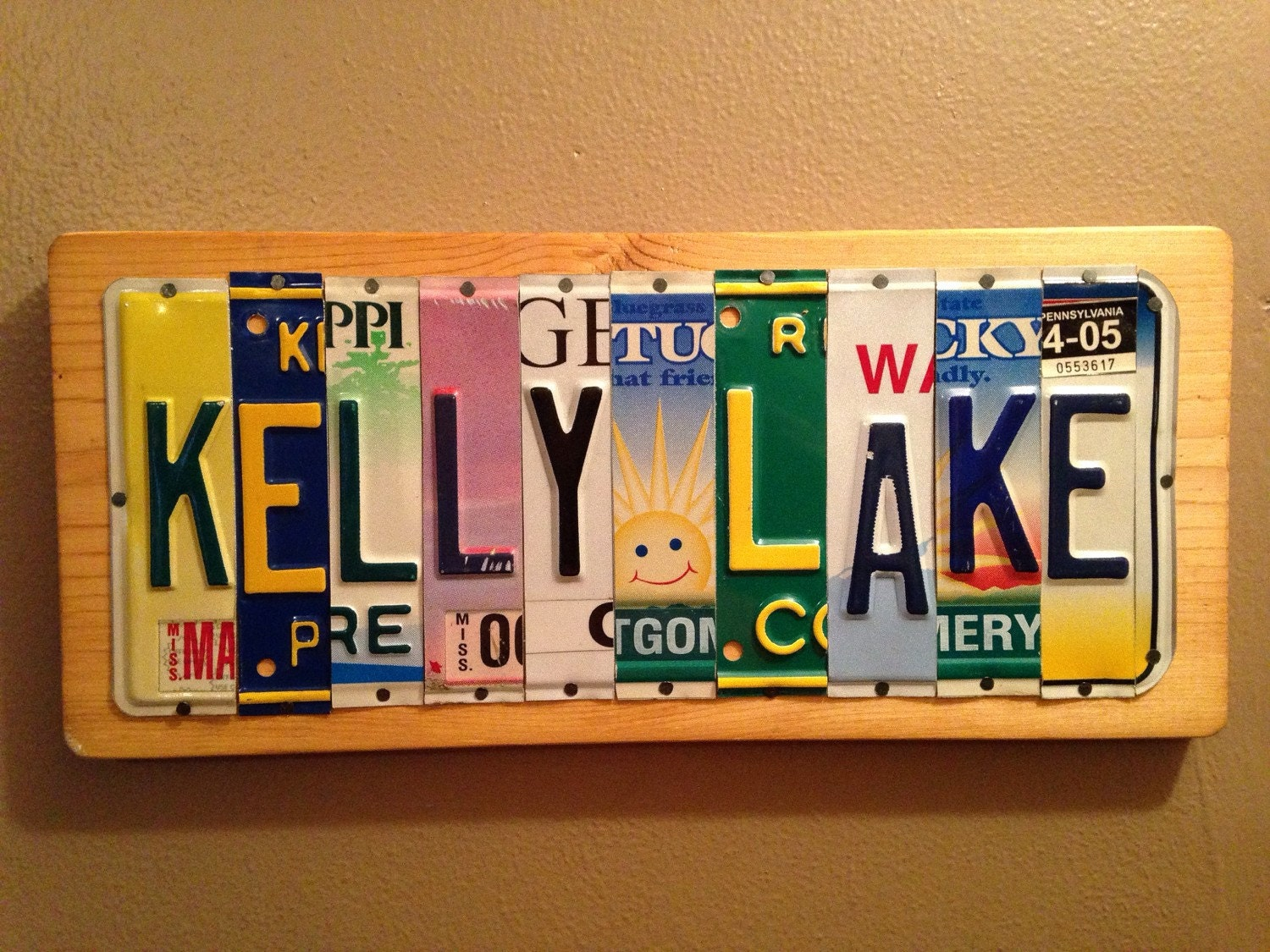 Custom made wood signs of license plate letters and numbers for Custom license plate letters