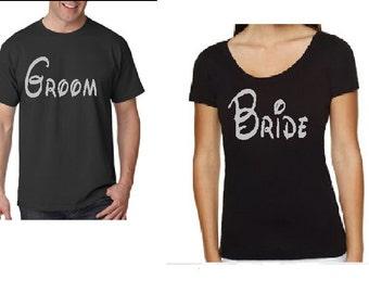 Custom Disney style Bride and Groom Shirts