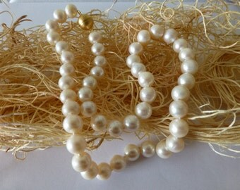 Sale!!! Perfectly Round Freshwater White Pearl Necklace