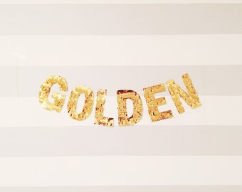GOLDEN custom banner - gold mylar fringe letters - pinata style for decoration