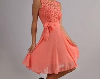 Coral bridesmaid dress – Etsy