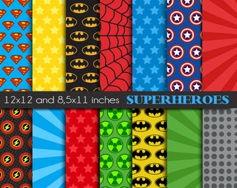 Superhero digital paper pack - Superhero boy printable papers -  commercial use - Instant download