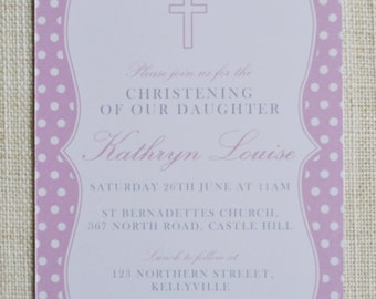 "Customised Spot Christening Invitation. Digital file 4x6""."