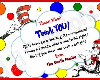 Dr. Seuss Thank You Card, Dr. Seuss Invitation, Printable File