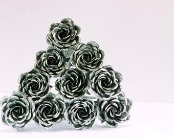 Custom Metal rose bouquets 10 ten steel roses copper aluminum brass forever flowers centerpiece gift vase art decoration natural plant decor
