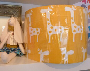 30cm Drum Lampshade made in Beautiful Deep Yellow & White Cotton Slub Linen Look Fabric