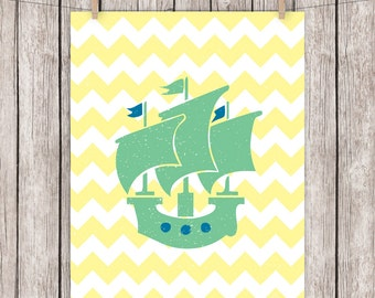 Nursery Printable Art Sail Boat Sailing Ship Art Print Sailboat Nautical Wall Decor, 8x10 Instant Download Digital File