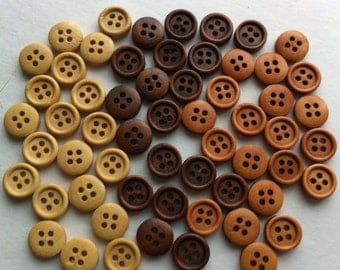 """60 11mm Wood Buttons Small Wooden buttons Natural Wood Light Dark 3/8"""" inch Round 4 holes Sewing Buttons Craft Embellishments Scrapbooking"""