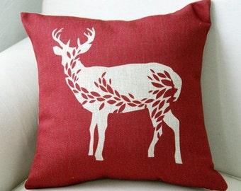 The reindeer throw pillow case pillow cover