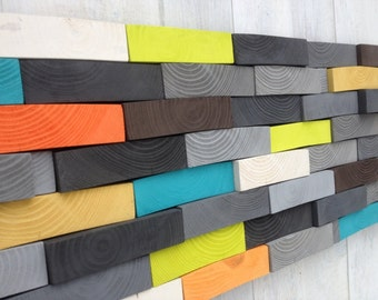 Modern Wood Sculpture Wall Art - Wood Wall Art