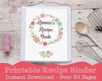 Recipe Binder - PRINTABLE Recipe Book by Printable Studio