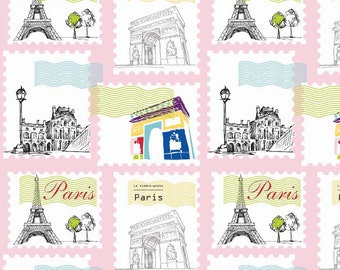 Riley Blake Fabric - Pepe in Paris - Paris Stamp Pink - Sold by the yard