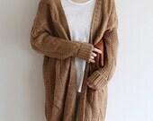 Brown oversize long knit, sweater, knitwear, knitted cardigan