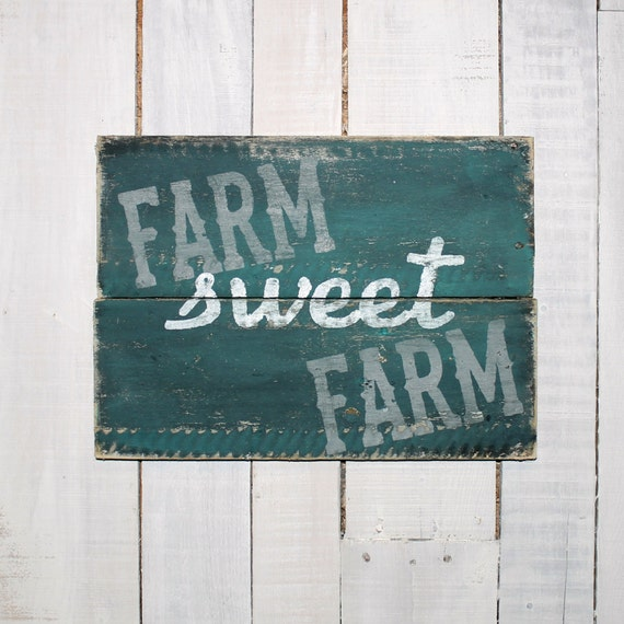 Happiness Is Homemade Handpainted Sign Handmade 12x12 Wall: Farm Sweet Farm Hand Painted Reclaimed Pallet Wood Sign