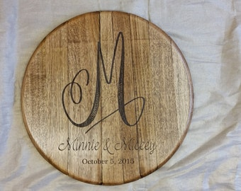 Wedding Initial Monogram Bourbon Barrel Head with Couple Name and Date